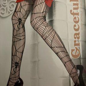Spiderweb skull netted stockings